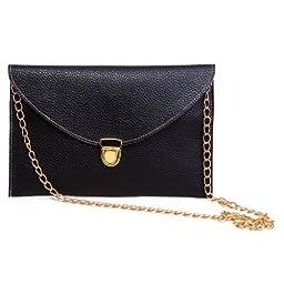 HDE Women\'s Envelope Clutch Purse Handbag (Black)