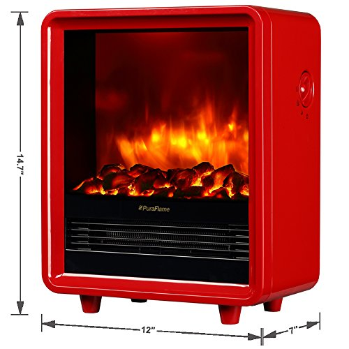 PuraFlame Octavia Red 11 inch Mini Portable Fireplace Heater, Eco Saving, High Efficiency Heating Elements, Adjustable Thermostat with 9 Selected Temperature Settings, Over-heating Protection, 750W/1500W