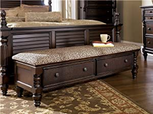 Dark Brown Bedroom Storage Bench by Ashley Furniture