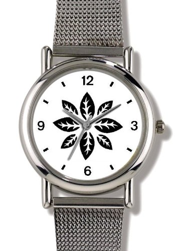 Floral Design (Black on White) 4 - WATCHBUDDY® ELITE Chrome-Plated Metal Alloy Watch with Metal Mesh Strap - Small ( Children's Size - Boy's Size & Girl's Size )