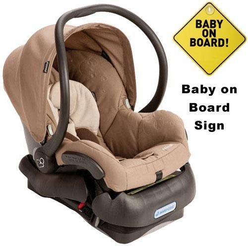Maxi-Cosi IC099WBN Mico Infant Car Seat w Baby on Board Sign - Walnut Brown