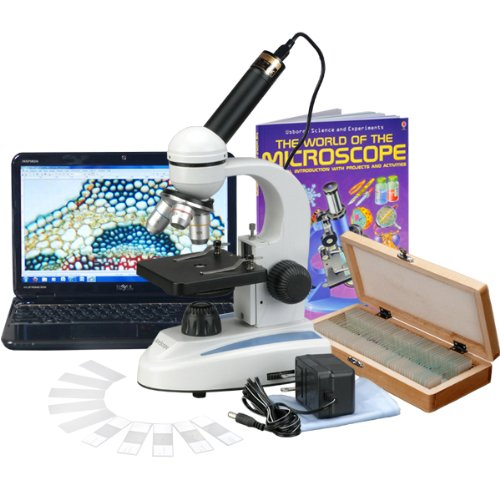 AmScope-M149C-PS50-WM-E-Digital-Compound-Monocular-Microscope-WF10x-and-WF25x-Eyepieces-40x-1000x-Magnification-LED-Illumination-Brightfield-Single-Lens-Condenser-Plain-Stage-110V-or-Battery-Powered-H