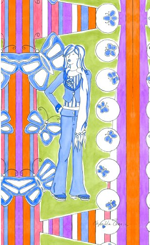 Green Frog Art Canvas Gallery Wrapped Art, Glam Girl in Blue