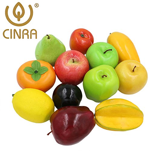 CINRA® Realistic Artificial Fruits Mixed Fake Fruits Model Home Staging Equipment Crafts Photography Props Fake Food Set Kitchen (pack of 12) (Glass Fruit Display compare prices)