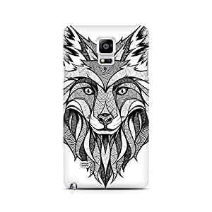 Ebby Line Art Wolf Premium Printed Case For Samsung Note 4 N9108