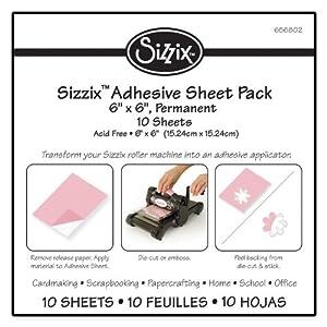 """Sizzix Adhesive Sheet Pack - 6"""" x 6"""", Permanent, 10 Sheets"""