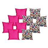 MeSleep 5 Pc Bird Digital Cushion Cover And 5 Pc Pink Quilted Cushion Cover