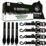 "RHINO USA Ratchet Straps Motorcycle Tie Down Kit, 5,208 Break Strength - Includes (4) Heavy Duty 1.6"" x 8' Rachet Tiedowns with Padded Handles & Coated Chromoly S Hooks + (4) Soft Loop Tie-Downs…"