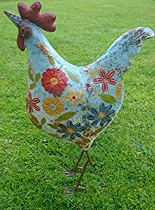 Large chicken garden ornament quirky painted metal hen for Quirky ornaments uk