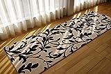 ソフトタッチが気持ちいい! 廊下敷き マット ラグジュアリースタイル (アラベスク 80x330 cm アイボリー ) ウィルトン織り
