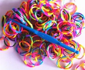 Ateam Lot de 1200 élastiques pour Loom avec 2 crochets et 50 attaches Multicolores bright color