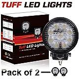 """Tuff LED Lights 2 X 4"""" Inch Round 27watt LED Work Lamp Light 1550 Lumen, Off Road, Atv, Utv, Polaris Ranger"""