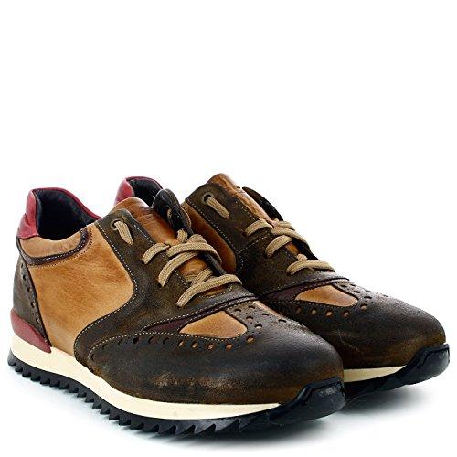 EXTON Uomo Sneakers in pelle, 150, Marrone, 44