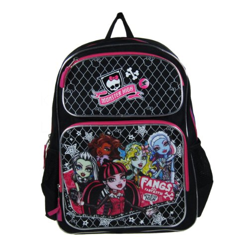 Officially Licensed Monster High Backpack - Clawdeen Wolf, Abbey Bominable, Lagoona Blue, Frankie Stein, and Draculaura