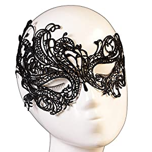 Yazilind Gorgeous Lolita Gothic Masquerade Party Fancy Dress Lady Black Lace Mask by YAZILIND JEWELRY LTD