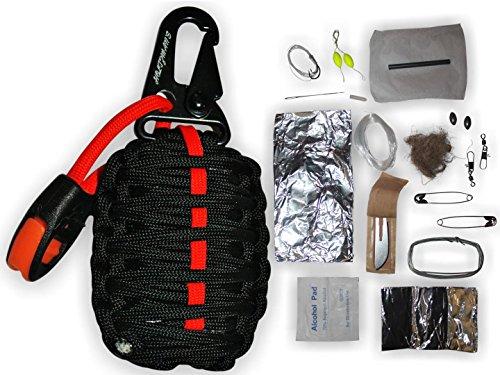 Holtzman's Gorilla Egg : 550 Paracord Grenade Emergency Kit - Your Survival Pack Has an Upgraded Military Grade Carabiner Snap Hook Is Stuffed with 18 Tools (Black and Red)