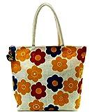 Neska Moda Swachh Bharat Round Floral Jute Bag Red,White,Turmeric Shoulder Bag-B131