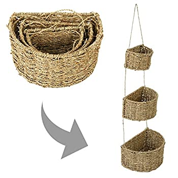 3 Tier Handwoven Wall Hanging Light Weight Storage Baskets Decorations, Brown