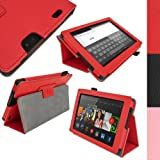 IGadgitz Premium Red PU Leather Folio Case Cover for Amazon Kindle Fire HD 7