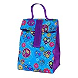 Cool Gear Insulated Fold Over Reusable Lunch Bag With EVA Lining, Lead Free, Phthalates Free (Blue Peace)