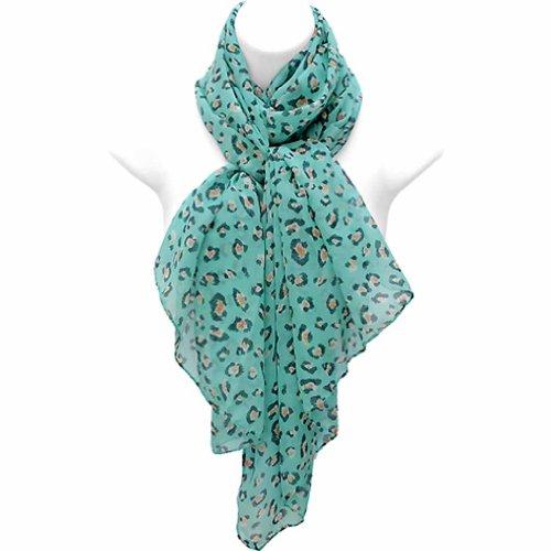 Luxury Divas Turquoise Multi Color Leopard Print Silky Versatile Scarf Wrap