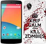 LG Google Nexus 5 Case - White and Red Hard Plastic (PC) Cover with Funny Keep Calm Kill Zombies Design