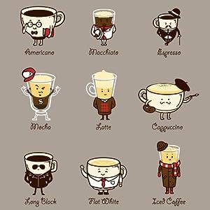 "Amazon.com: B&A ""Coffee Personality"" Funny Cartoon Coffee Drink Types"