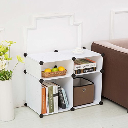 Best Price C&AHOME - DIY Plastic Storage Cube,Bookcase Without Door,Cube of 4 (Marble)