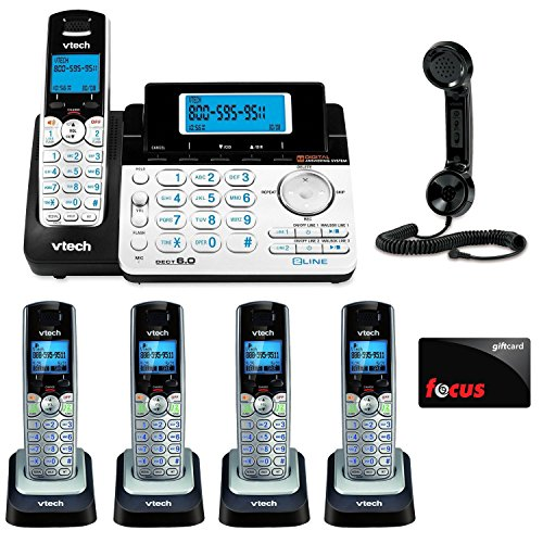 VTech DS6151 2-Line Expandable Cordless Phone with Digital Answering System and Caller ID with Extra Handset Bundle and $10 Focus Gift Card image