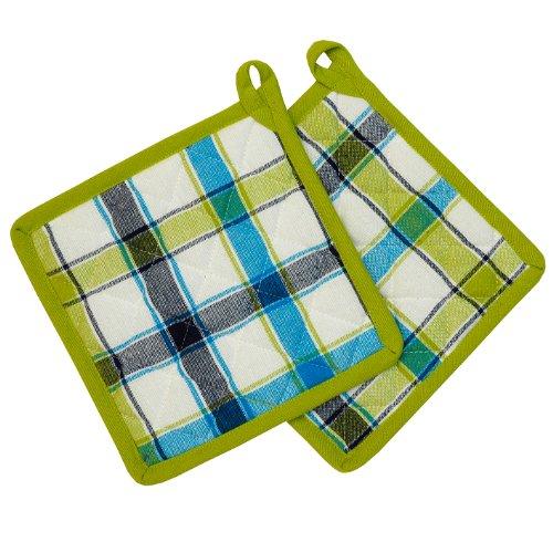 2 x (= ein Paar) Hochwertig aus reiner Baumwolle - Topflappen /(pot holder) - kariert grün blau weiss - Größe 20 x 20 x2033 x 45 cm - 100 % Baumwolle , auch Tischdecke , Läufer , Backhandschuh , Brotkorb und andere Artikeln im gleichem Design erhältlich - Küche und alle Wohnräume