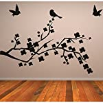 DeStudio Branches with Birds Home Art Decor Removable Vinyl Room Wall Sticker, Size : MEDIUM, Color : GENTIANE BLUE