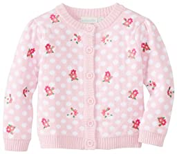 JoJo Maman Bebe Baby-Girls Newborn Embroidered Cardigan, Pink, 6-12 Months