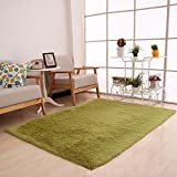 Mikey Store Fluffy Rugs Anti-Skid Shaggy Area Rug Dining Room Home Bedroom Carpet Floor Mat 50 x 80cm (Army Green)