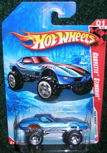 2010 HOT WHEELS RACE WORLD JUNGLE MONSTER CAR 01/04 BLUE CORVETTE STINGRAY - 1