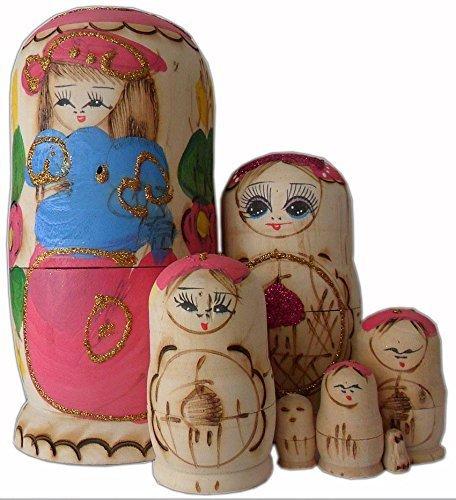 7.5inch Wooden Set of 7 Cutie Nesting Dolls Matryoshka Madness Russian Doll