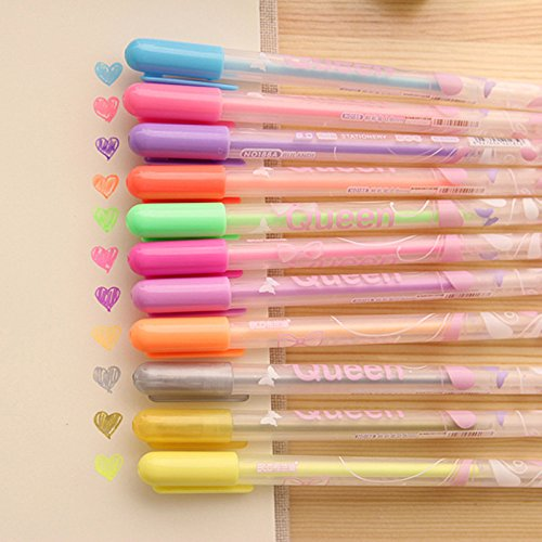 DoDoo Set of 12 Cute Cartoon Candy Queen Girls Multi Colored Gel Ink Rollerball Pens For School Office Prizes Gifts