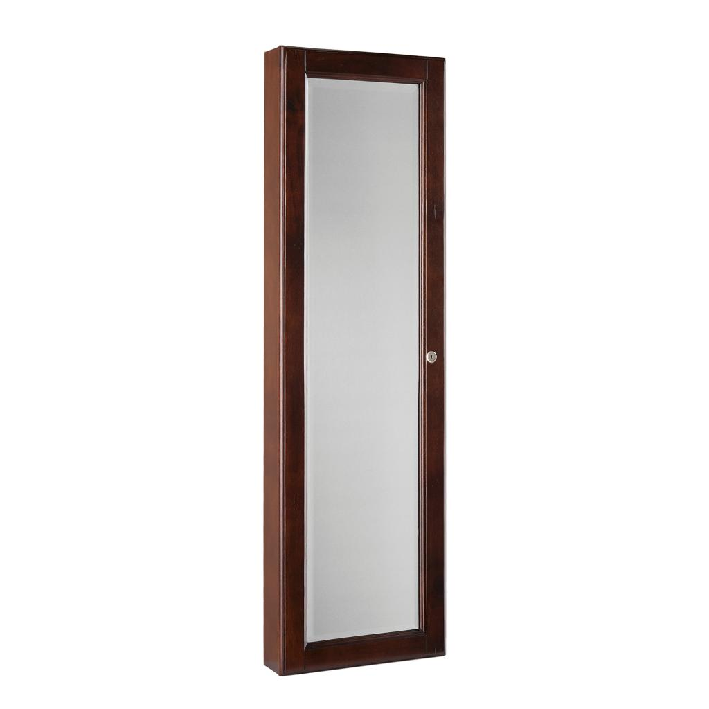 Sei wall mount jewelry armoire with mirror for Wall mounted mirror