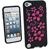 IGadgitz Black & Pink Flowers Silicone Skin Case Cover for Apple iPod Touch 5th Generation 5G 32GB 64GB + Screen Protector