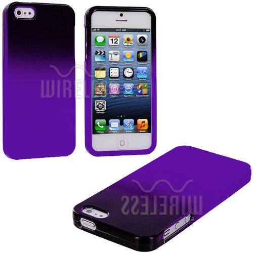 Best  myLife (TM) Purple + Black Two Tone Series (2 Piece Snap On) Hardshell Plates Case for the iPhone 5/5S (5G) 5th Generation Touch Phone (Clip Fitted Front and Back Solid Cover Case + Rubberized Tough Armor Skin + Lifetime Warranty + Sealed Inside myLife Authorized Packaging)