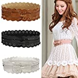 Women's Fux Leather Lace Wide Bowknot Buckle Bow Waist Belts Waistband by NYC Leather Factory Outlet