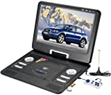 Portable Swivel Bravolink DVD Player with TV USB Card Reader Radio Games MP3 CD-R CD-RW WMA CD DHCD (9.5 inch (989), black)