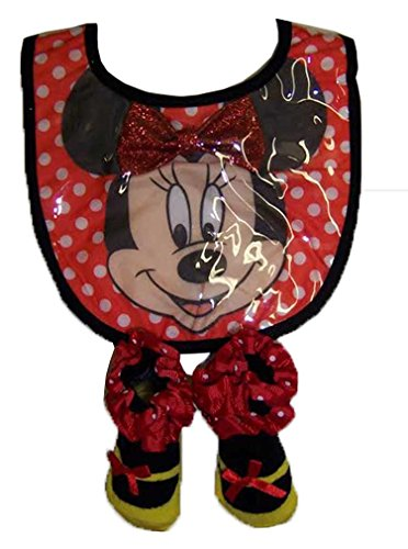Disney Minnie Mouse Girls Infant Red Bib and Bootie Set [5011] - 1