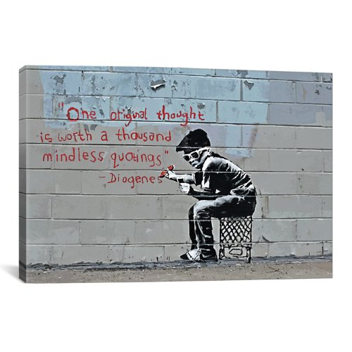 iCanvasART One Original Thought Worth a Thousand Quotings Canvas Art Print by Banksy, 12 by 8-Inch