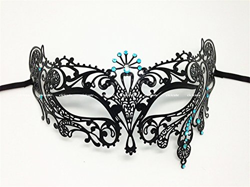 Black Metal Laser Cut Venetian Masquerade Girls Mask with Blue Rhinestones