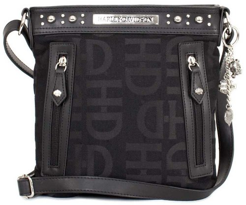 Harley-Davidson Womens H-D Logo Jacquard Crossbody Purse Hd3437J-Black