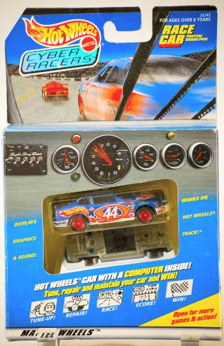 1997 - Mattel - Hot Wheels / Cyber Racers - Pontiac Grand Prix Race Car - Mattel Wheels - #44 Car w/ Game Computer Inside - Graphics & Sound - Very Rare - MIB - Out of Production - Limited Edition - Collectible