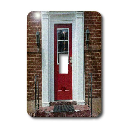 lsp_50461_1 Jos Fauxtographee Realistic - A Brick Building in Cedar City, Utah With a Red Front Door and White Columns on The Porch - Light Switch Covers - single toggle switch