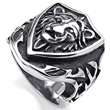buy Bishilin Stainless Steel Fashion Men'S Rings Shield Biker Silver Gothic Lion Retro Size 10