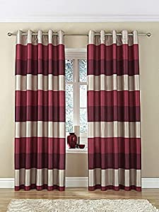 """Brazil Red Beige Cream Striped Faux Silk Lined Ring Top 90"""" X 72"""" Curtains #oir by PCJ SUPPLIES"""