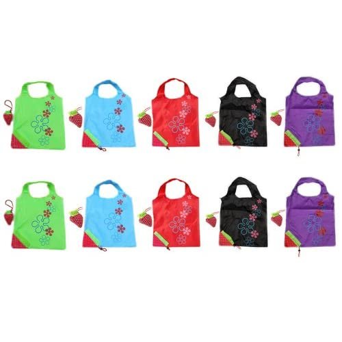 BONAMART ® 10 Newly Assorted Colors strawberry Reusable Foldable Shopping ECO Bags with pouch shoulder Tote Wholesale...